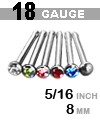 19 GAUGE 316LVM ASTM F138 GEMMED NOSE STUD (5/16 INCH, STRAIGHT, MARTINI GLASS, BEZEL SET GEM)