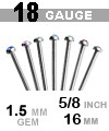 18 GAUGE 316LVM ASTM F138 GEMMED NOSTRIL PIN (5/8 INCH, STRAIGHT, FLAT BOTTOM, LOW PROFILE, 1.5MM BEZEL SET GEM)